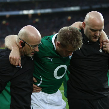 Luke Fitzgerald is helped off by the Ireland medical staff