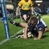 Luke Fitzgerald gets over in the corner for one of his three tries against Edinburgh
