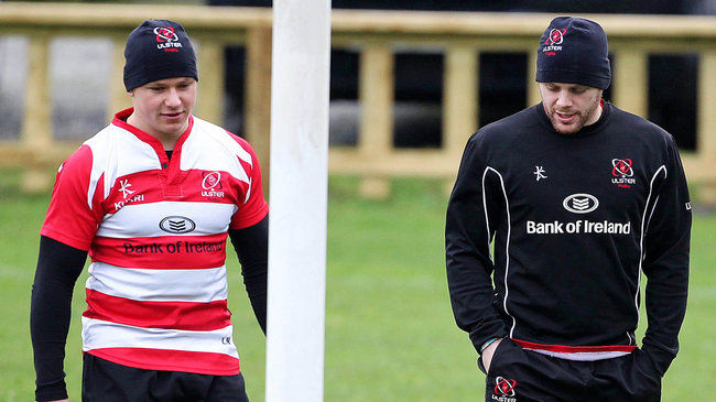Ulster's Luke Marshall and Darren Cave