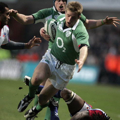 Luke Fitzgerald in action against the Pacific Islanders