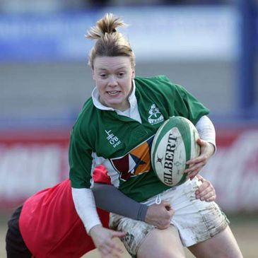 Lynne Cantwell in action against Wales