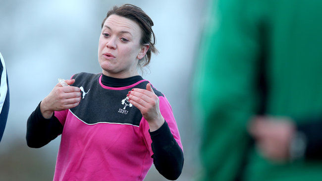 Lynne Cantwell training with the Ireland squad