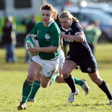 Lynne Cantwell on the charge for Ireland