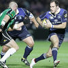 Leinster full-back Girvan Dempsey takes on his Ireland team-mate, Connacht flanker Johnny O'Connor