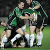 Connacht scrum half Conor McPhillips, who was forced off due to a blood injury, prepares to send up a box kick