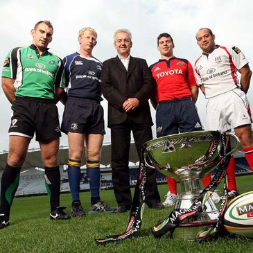 The provinces' captains pose with Maurice Breen of Magners