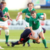 Mairead Kelly, who came on as a replacement for Shannon Houston, tries to make a break
