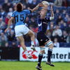 Glasgow's Argentinian full-back Bernardo Stortoni competes for a high ball with Malcolm O'Kelly