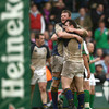 Malcolm O'Kelly and Cian Healy embrace as Leinster celebrate their nail-biting win over Harlequins