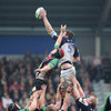 Leinster lock Malcolm O'Kelly rises highest to claim a lineout ball ahead of Harlequins' James Percival