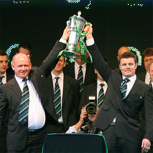 Declan Kidney and Brian O'Driscoll at the homecoming reception