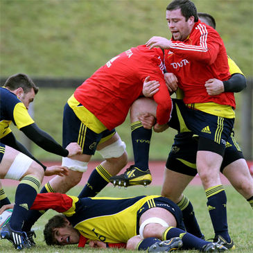 Marcus Horan is pictured training with the Munster squad