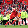 After the final whistle, there were scenes of jubilation on the pitch. Munster's Marcus Horan and Felix Jones are shown celebrating together