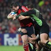 Munster prop Marcus Horan drives forward during the province's Heineken Cup opener against Montauban