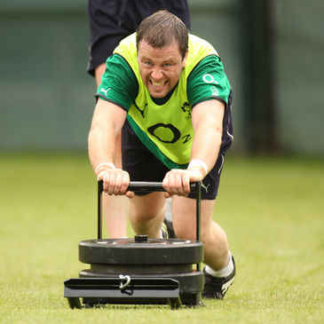 Marcus Horan drives forward during training