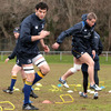 Argentinian lock Mariano Galarza and the fit-again Luke Fitzgerald take part in a training exercise at Donnybrook