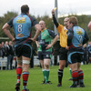 Belfast Harlequins suffered a setback in the 33rd minute when their experienced back rower Neil McComb was sin-binned by referee Mark Hermin for a cynical trip