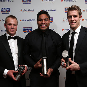 Ulster's Luke Marshall, Nick Williams and Andrew Trimble