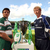 Leicester Tigers club captain Martin Corry, who is injured for the final, and Leinster captain Leo Cullen pose with the trophy