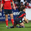 Scarlets scrum half Martin Roberts reacts after scoring the visitors' only try of the game