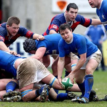 St. Mary's scrum half Matt D'Arcy clears the ball