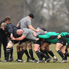 Ireland forwards coach Gert Smal is on hand as the players work on their body positioning and maul technique