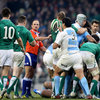 Argentinian debutant prop Maximiliano Bustos is shown throwing the ball at his scrum rival Cian Healy. His actions led to a yellow card
