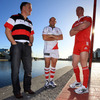 Ulster's Brian McLaughlin and Rory Best chat to Munster captain Paul O'Connell during a break in the photoshoot