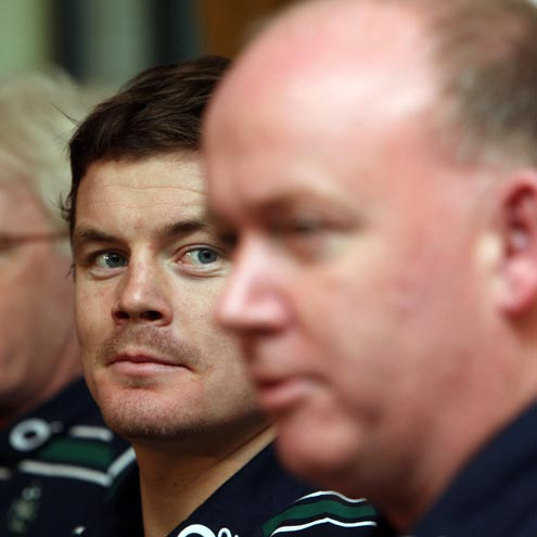 Brian O'Driscoll and Declan Kidney at Thursday's press conference