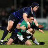 Connacht out-half Miah Nikora is brought to ground by a combination of Shane Jennings and Heinke van der Merwe