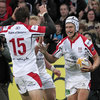 Luke Marshall and Jared Payne were first to congratulate Michael Allen after the 21-year-old scored his first senior try for Ulster