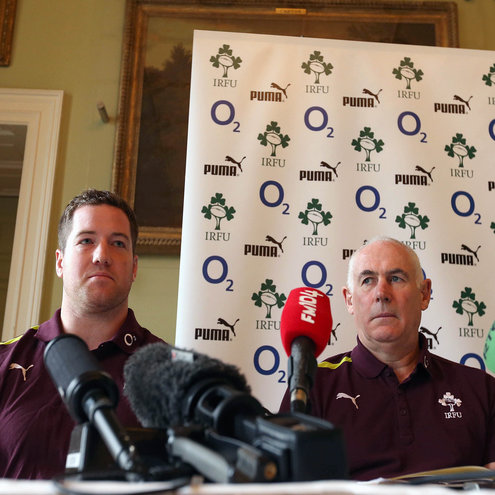 Michael Bent and Michael Kearney face the media at Carton House