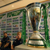 Michael Cheika and Leo Cullen field questions from the media, with the Heineken Cup trophy perched beside them