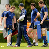 Leinster coach Michael Cheika discusses training matters with Shane Jennings, Brian O'Driscoll, Shane Horgan and Malcolm O'Kelly