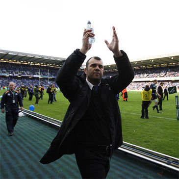 Michael Cheika salutes the fans at Murrayfield