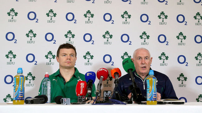 Brian O'Driscoll and Michael Kearney at Tuesday's press conference