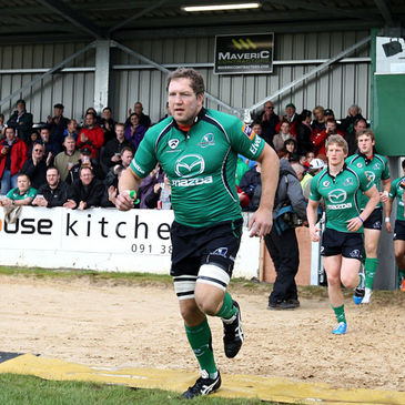 Connacht lock Michael Swift runs out at the Sportsground