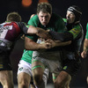 Harlequins' Ceri Jones and George Lowe combine as they sandwich the onrushing Michael Swift
