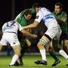 Connacht's record caps holder, Michael Swift, is sandwiched between Leinster's Fergus McFadden and Devin Toner