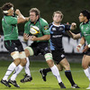 Glasgow Warriors hooker Fergus Thomson is close at hand as Connacht's Michael Swift gathers possession