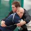 Michael Swift and Johnny O'Connor, two of Connacht's most experienced players, are pictured in action during Thursday's squad session