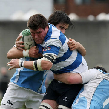 Blackrock College flanker Mick Carroll on the ball