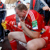Mick O'Driscoll, who was replaced by Donncha Ryan in the final quarter, gets sprayed with some water on the sideline