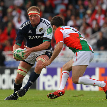 Mick O'Driscoll in action for Munster against Biarritz Olympique