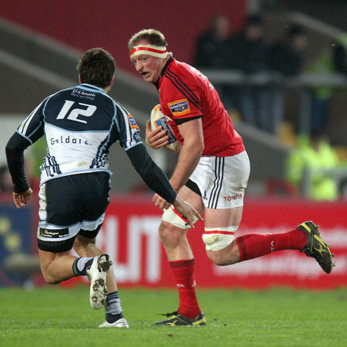 Munster captain Mike O'Driscoll in action against Cardiff