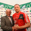 Heineken's Pat Maher was on hand to present Munster lock Mick O'Driscoll with his man-of-the-match award