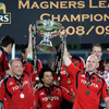 A close-up view of a delighted Mick O'Driscoll, Doug Howlett and Paul O'Connell as Munster are officially crowned the new Magners League champions