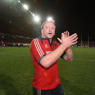 Mick O'Driscoll applauds the Munster supporters