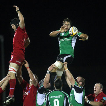Connacht's Mike McCarthy in action against the Scarlets