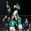 Connacht lock Mike McCarthy gets up to win a lineout, ahead of Leinster's fit-again flanker Kevin McLaughlin